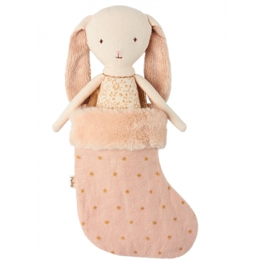 Bunny Angel in Stocking - Powder Pink