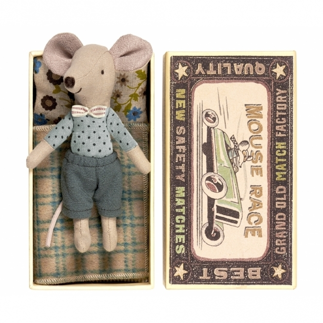 Maileg Mice Big Brother Mouse Bow Tie - Matchbox