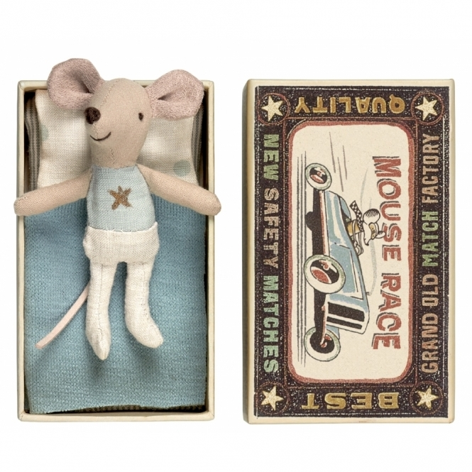 Maileg Mice Little Brother Mouse Blue & Gold Star - Matchbox