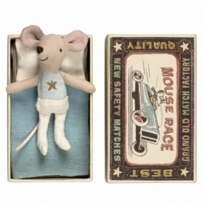 Little Brother Mouse Blue & Gold Star - Matchbox