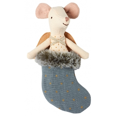 Mouse Angel in Stocking - Petrol Blue