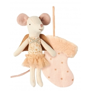 Maileg Mice Mouse Angel in Stocking - Powder Pink