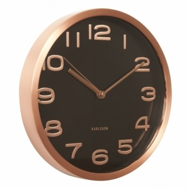 Maxie Black Wall Clock with Copper Case & Numbers