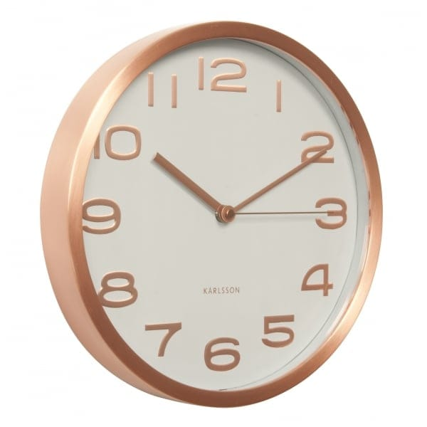 Karlsson Maxie White Wall Clock With Copper Case Numbers