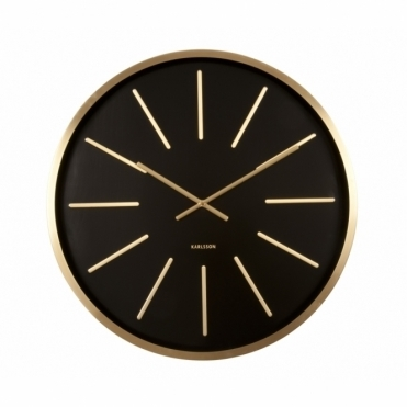 Maxiemus Station Brass 60cm Wall Clock - Black