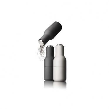 Bottle Grinders Salt & Pepper Set Ash & Carbon With Stainless Steel Tops