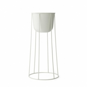 Plant Pot & Wire Stand Large - White