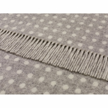 Merino Lambswool Grey Spot Throw Blanket