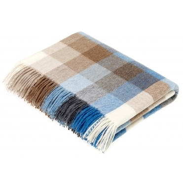 Merino Lambswool Harlequin Throw Blanket - Aqua & Camel
