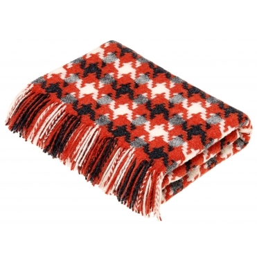 Merino Lambswool Houndstooth Throw Blanket - Coral