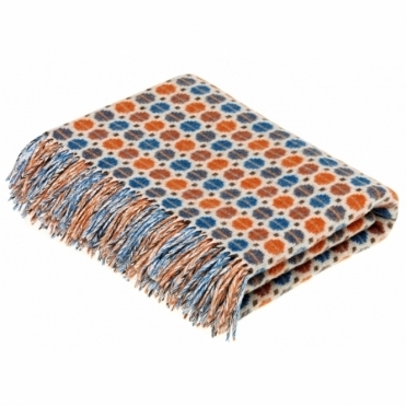 Merino Lambswool Milan Orange/Turquoise Throw Blanket