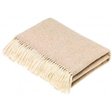 Merino Lambswool Parquet Throw Blanket - Beige