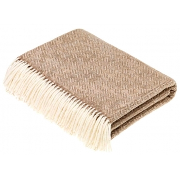 Merino Lambswool Parquet Throw Blanket - Camel