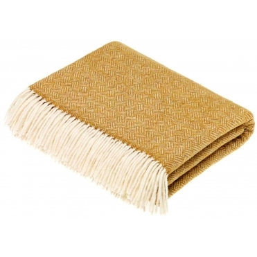 Merino Lambswool Parquet Throw Blanket - Gold