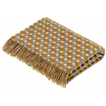 Merino Lambswool Rectangle Throw Blanket - Gold & Grey
