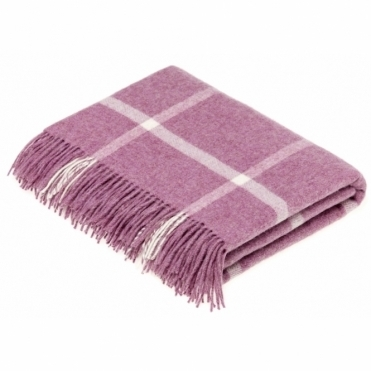 Merino Lambswool Windowpane Lilac Throw Blanket