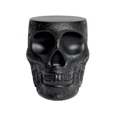 Mexican Skull Stool / Side Table - Black