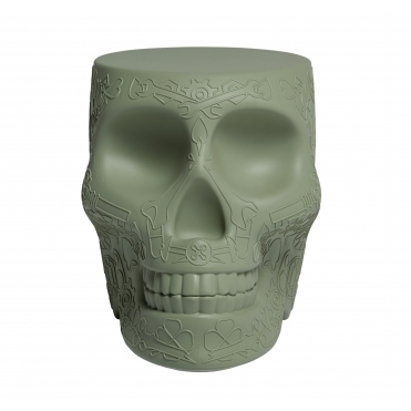 Mexican Skull Stool / Side Table - Green