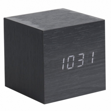 Mini Cube LED Alarm Clock with Date & Temperature - Black Wood