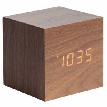 Mini Cube LED Alarm Clock with Date & Temperature - Dark Wood