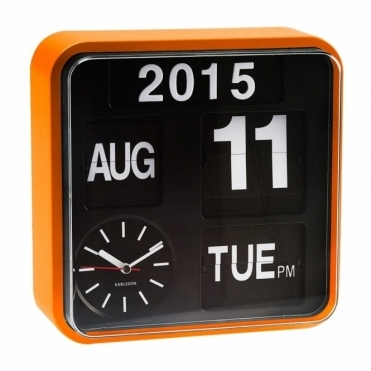 Mini Flip Calendar Wall Clock Orange
