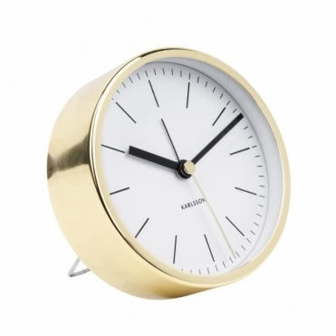 Minimal Gold Alarm Clock - White