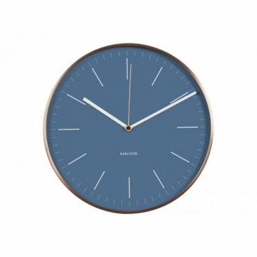 Minimal Jeans Blue Wall Clock with Copper Case
