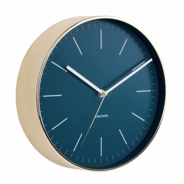 Minimal Petrol Blue Wall Clock - Gold Case