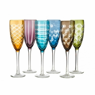 Mixed Cuttings Champagne Glasses - Set of 6