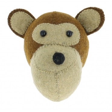 Monkey Felt Animal Wall Head - Mini