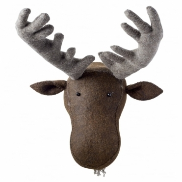 Moose Felt Animal Head Wall Mounted