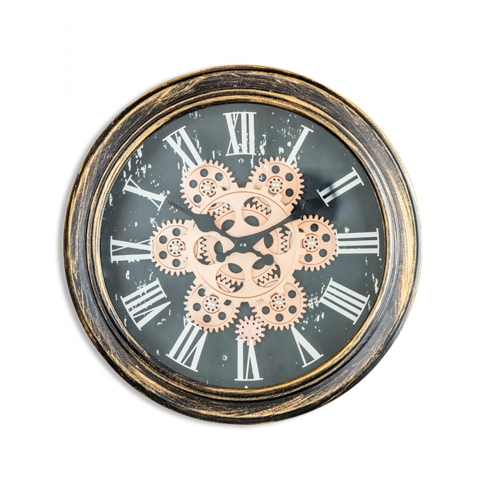 Moving Gears Wall Clock Antique Gold Bronze