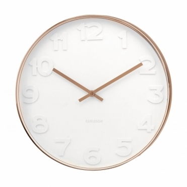 Mr White Numbers Copper Wall Clock Large