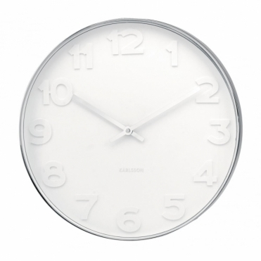 Mr White Numbers Steel Wall Clock - Small