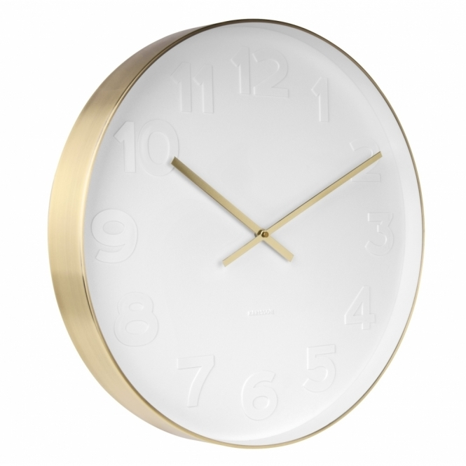 karlsson mr white numbers wall clock large brushed gold. Black Bedroom Furniture Sets. Home Design Ideas