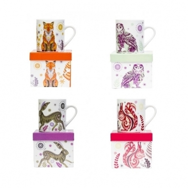 Mugs Set of 4 : Fox, Squirrel, Owl & Hare