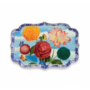Multicolour Flowers Serving Tray