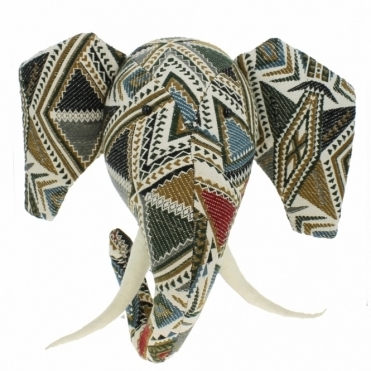 Navaho Patchwork Elephant Animal Head Large - Wall Mounted
