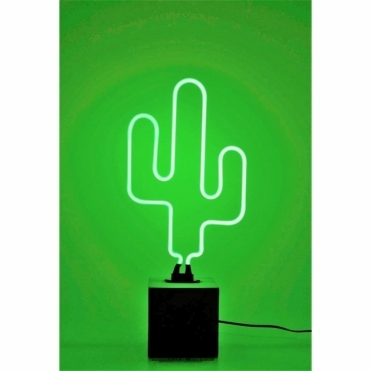 Neon Cactus Light with Base - Green