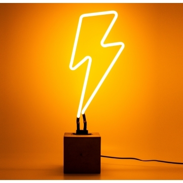 Neon Lightning Bolt with Concrete Base - Yellow