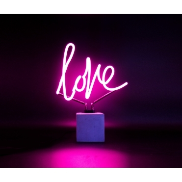 Neon Love Table Lamp With Concrete Base - Pink