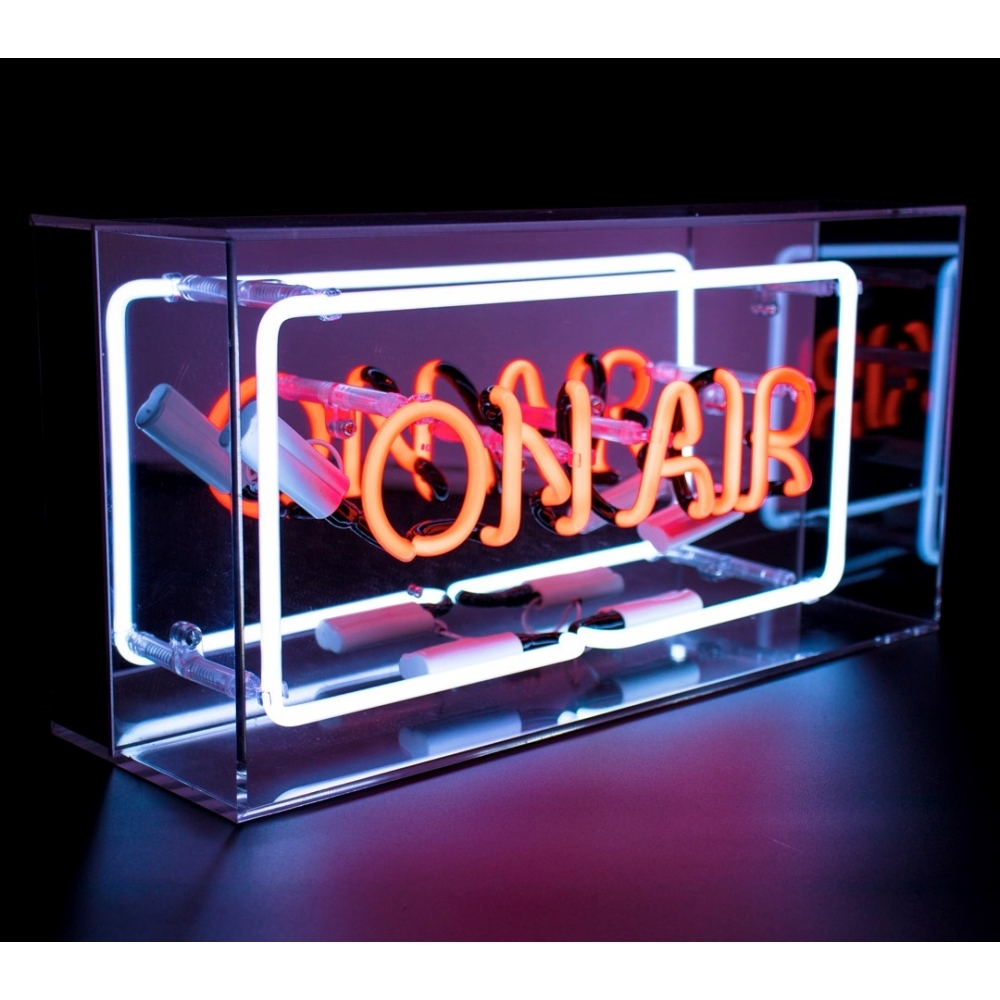 neon on air sign acrylic box light hurn and hurn