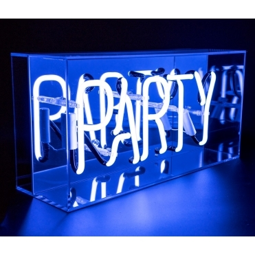 Neon Party Sign Acrylic Box Light - Blue