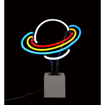 Neon Planet Saturn Table Lamp with Concrete Base