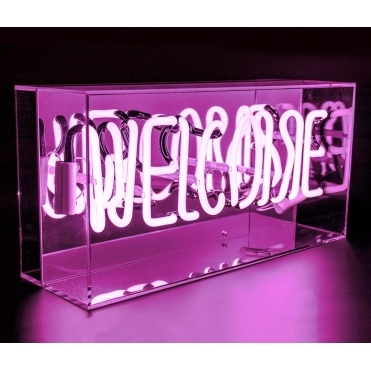 Neon Welcome Pink Sign - Acrylic Box Light