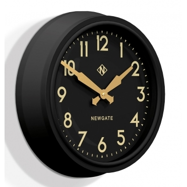 50's Electric Matte Black Wall Clock - Black Dial