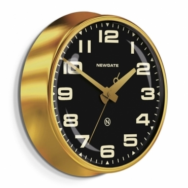 Brixton Wall Clock - Radial Brass / Black Dial