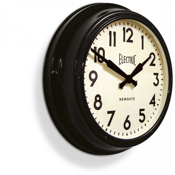 Newgate Large Electric Station Wall Clock Black Hurn And