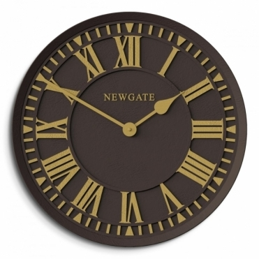 The Coach House Indoor / Outdoor Wall Clock - Chocolate Black & Gold