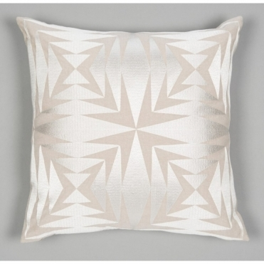 Embroidered Teja Cushion - Off White